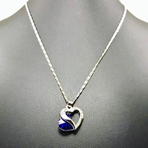 Jewelry - Cobalt Clear Crystal Heart Pendant Silver Chain